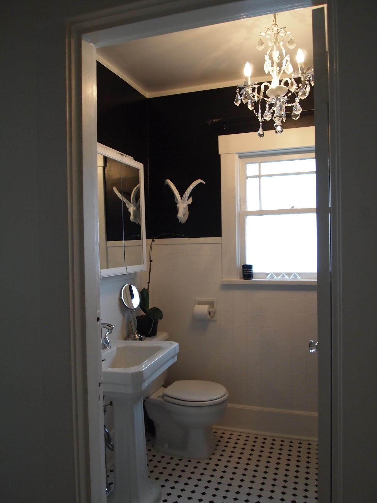 a little black paint a goat head mount and a home depot chandelier and the bathroom looks a bit more updated without any structural changes