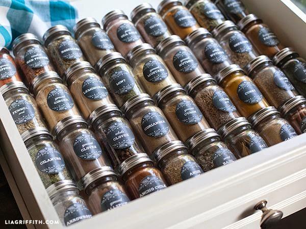 cajón de las especias etiquetas, especiero organización