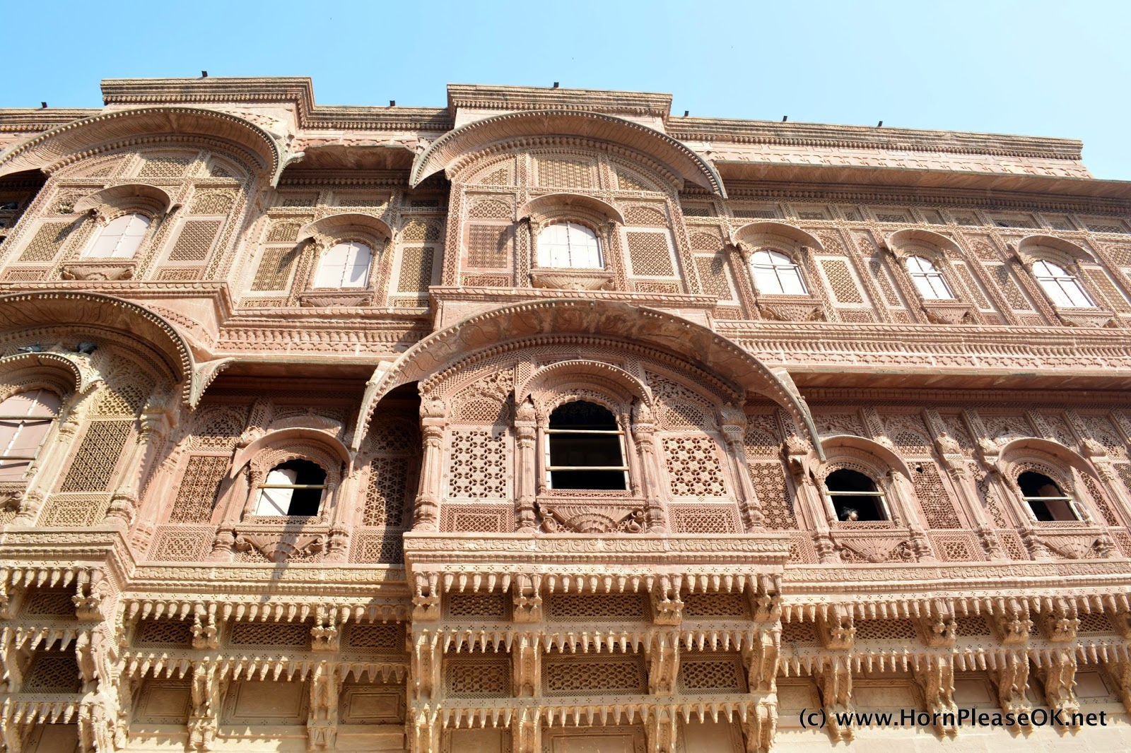 Carved windows of the palaces within Mehrangarh Fort