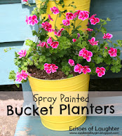 DIY Spray Painted Bucket Planters