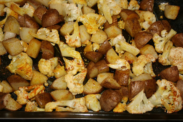 Maple Syrup Roasted Potatoes &amp; Cauliflower 
