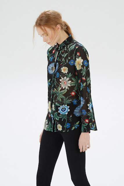 botanical print black blouse, warehouse black floral shirt,