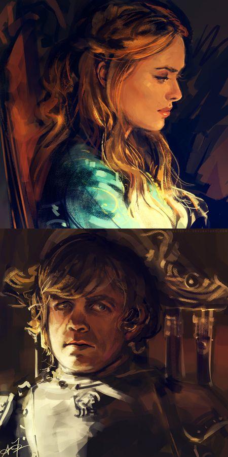 Alice X. Zhang alicexz deviantart pinturas de filmes séries Cersei e Tyrion Lannister - Game of Thrones