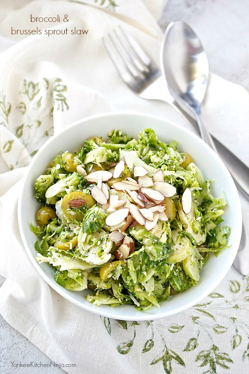 Broccoli and Brussels sprout slaw with olives and almonds