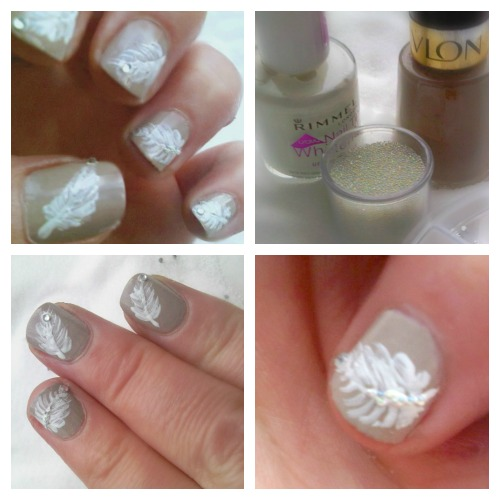 collage of products and manicure with feathers