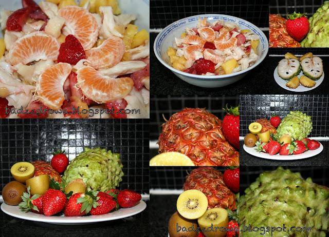 sałatka owocowa zrobiona z jabłka z Jamajki, ananasa, truskawek, złotych kiwi i mandarynek