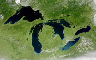 Unlabelled Great Lakes Map from satellite