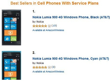 Best Selling Cell Phones on Amazon.com: Nokia Lumia 900 Tops