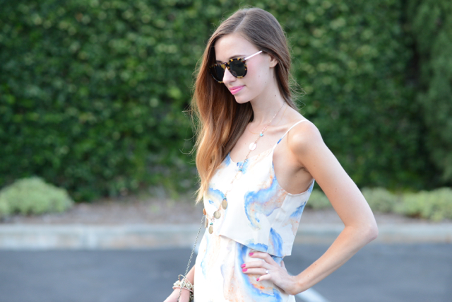 watercolor print dress, M Loves M