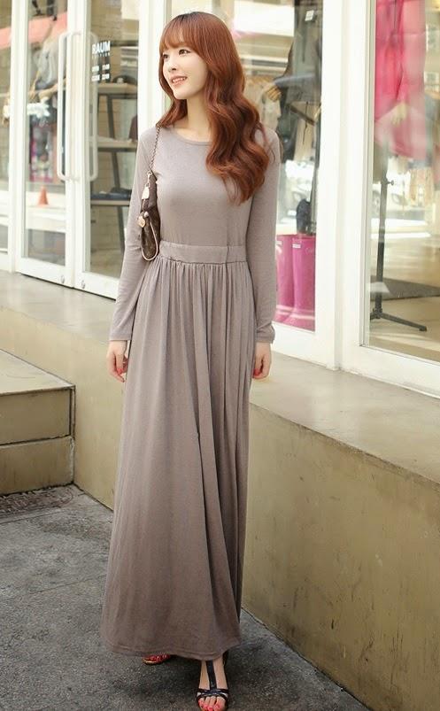Simple Long Sleeve Maxi T-shirt Dress