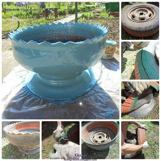 как сделать вазон из шин