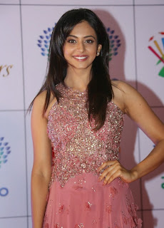 Actress Rakul Preet Singh Latest Pictures in Long Dress at Memu Saitam Dinner with Stars Red Carpet 31