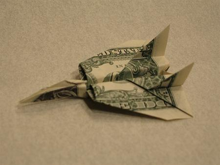 Dollar Bill Origami, Origami Art, Origami F-14 Airplane