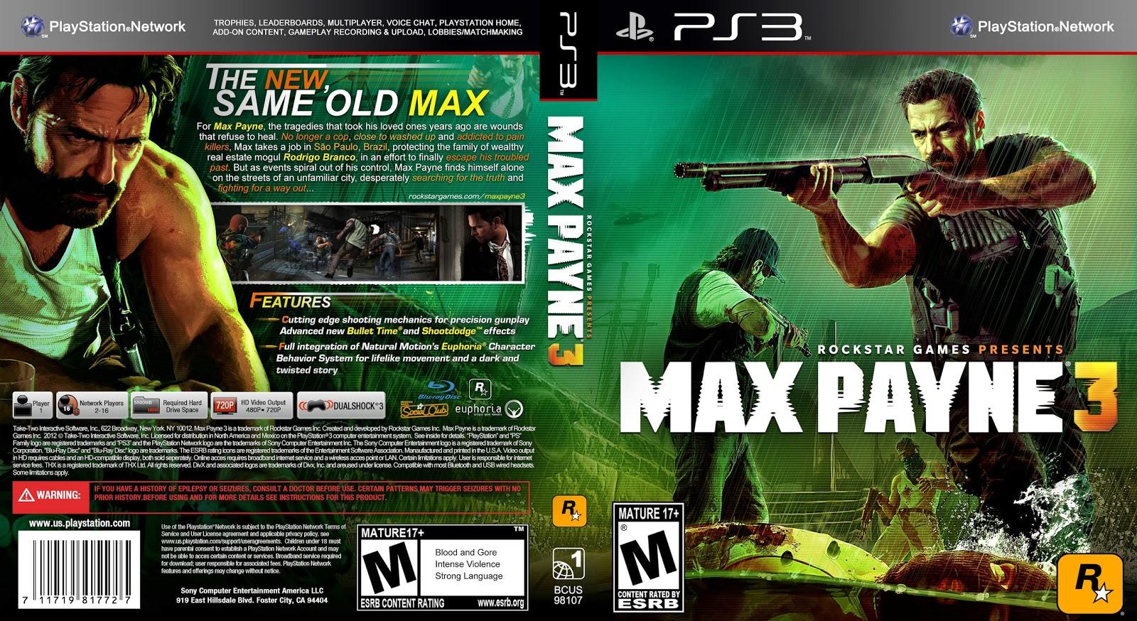 Capa Max Payne 3 PS3