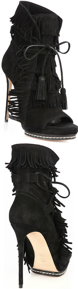 Casadei Fringed Suede Peep-Toe Booties