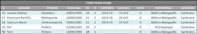 Situación Contractual Actualizada de la plantilla del Málaga Club de Fútbol para la 12/13 Confichadelfilial