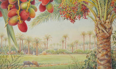 watercolour painting of Egyptian pastoral scene, date trees and buffaloes