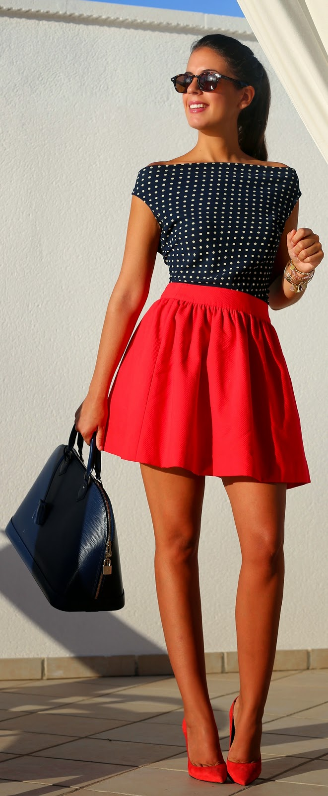 Polka Dots Off Shoulder Top with Red Ruffle Skirt | Chic Street Outfits