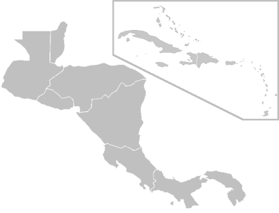 Blank Map of Central American and Caribbean