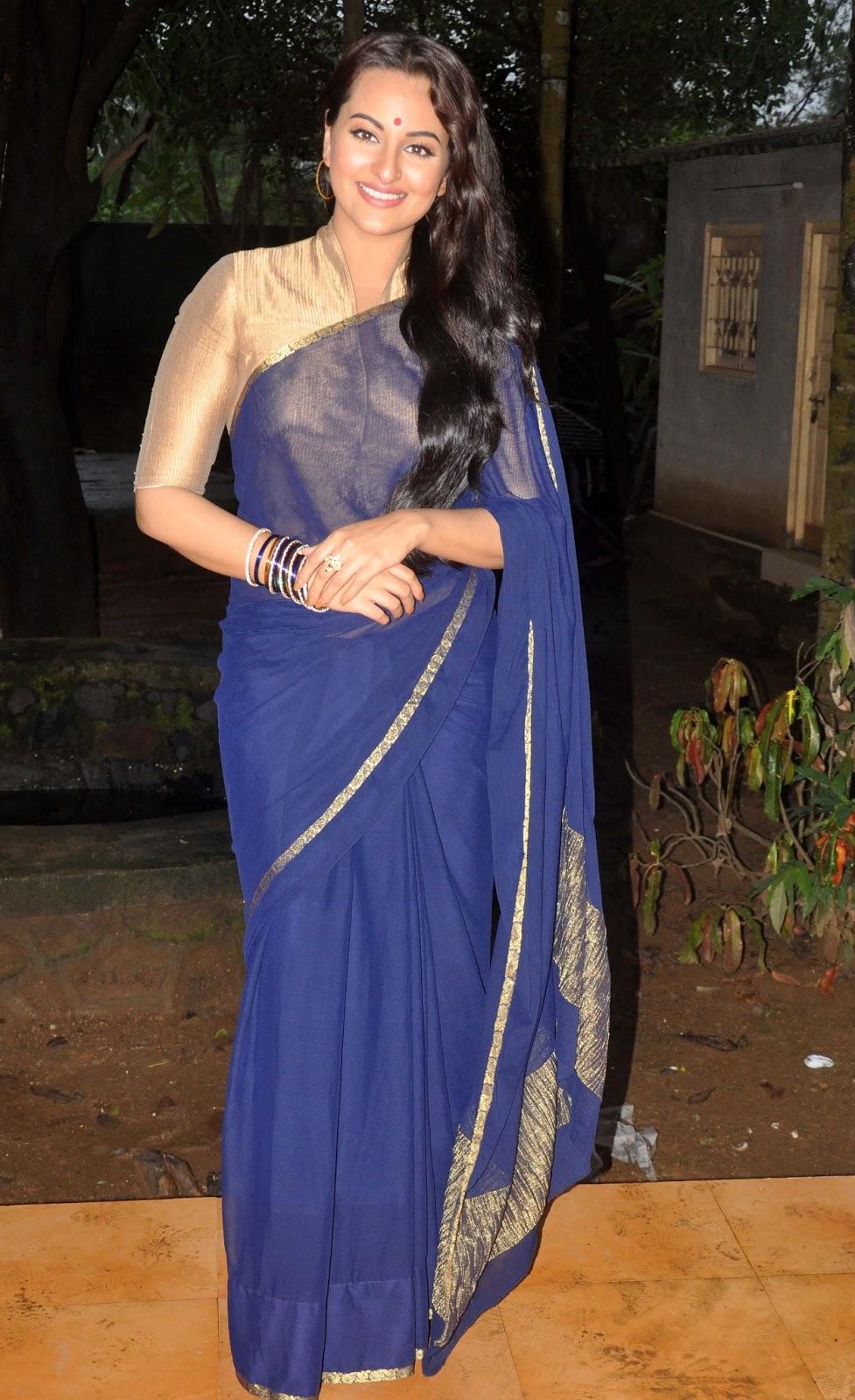 Sonakshi Sinha Cute in Blue Saree - HD Group Sex