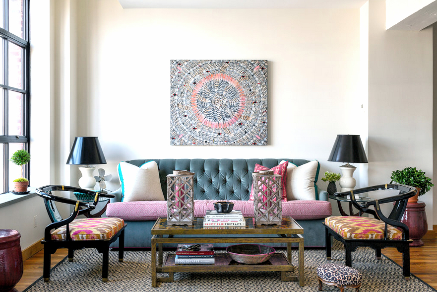 Anne Maxwells Colorful NYC Loft Apartments Living Room With A Gray Kravet Medley Sofa Armchairs
