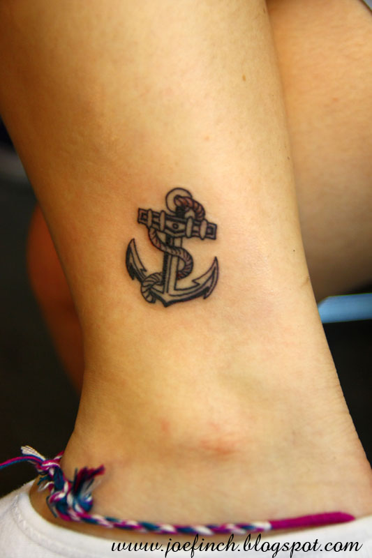 Micro Anchor Tattoo On Ankle