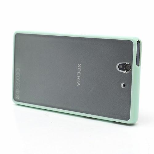 Hybrid Case : TPU Edges and Transparant Back Case Sony Xperia Z L36h L36i C6603 Yuga - Light Green
