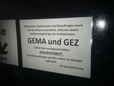 GEMA GEZ und Angehörige haben Hausverbot in Clubs und Kneipen