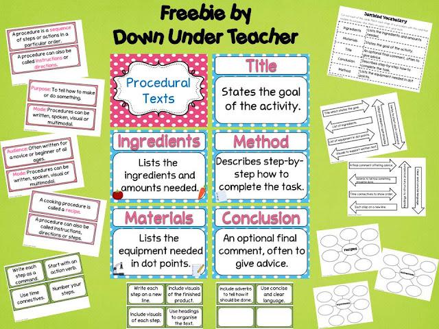 Down Under Teacher Procedural Text Freebie