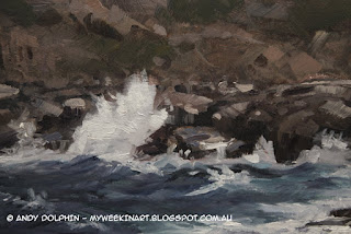 Plein Air seascape in oils, Albany. Detail. Andy Dolphin.