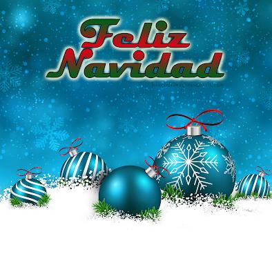 Feliz Navidad postal con esferas y mensaje