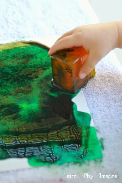 Toddler friendly watercolor ice art
