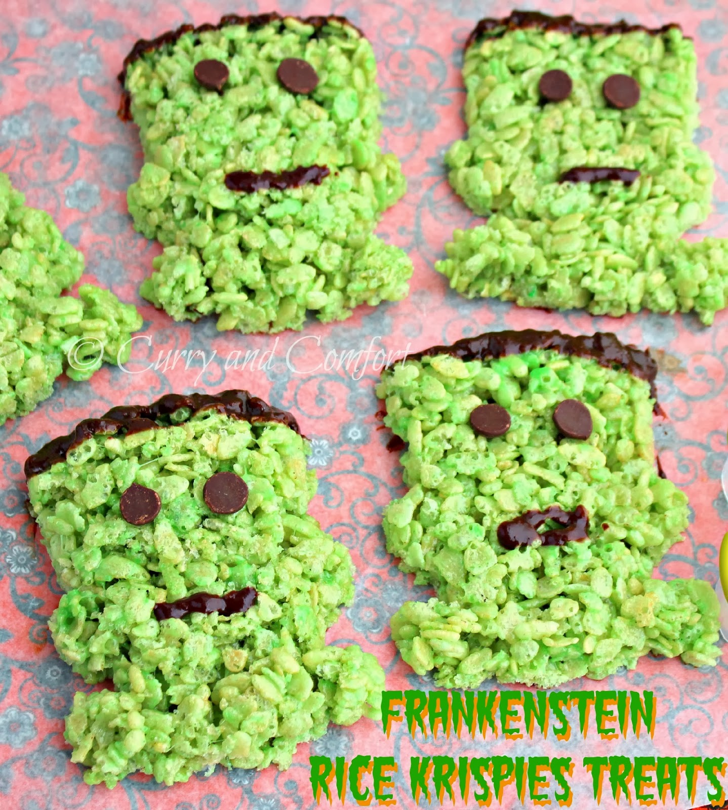 welcome to day 3 of halloween today i have these fun and very tasty frankenstein rice krispies treats i used the sweet creations by good cook