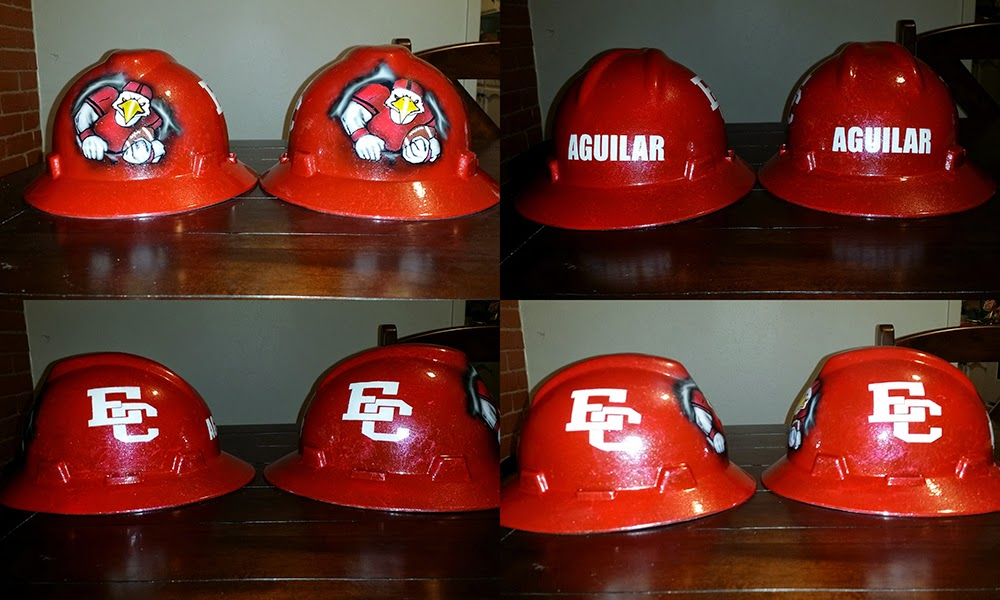 El Campo Texas Ricebirds custom hard hat with mascot