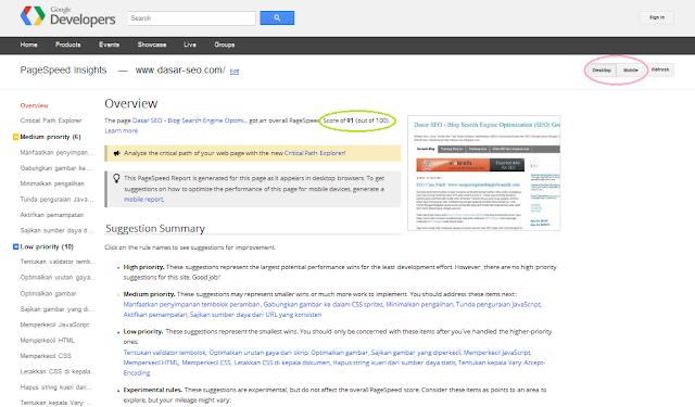 Hasil Google PageSpeed