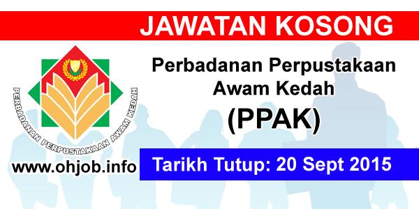 Jawatan Kerja Kosong Perbadanan Perpustakaan Awam Kedah (PPAK) logo www.ohjob.info september 2015