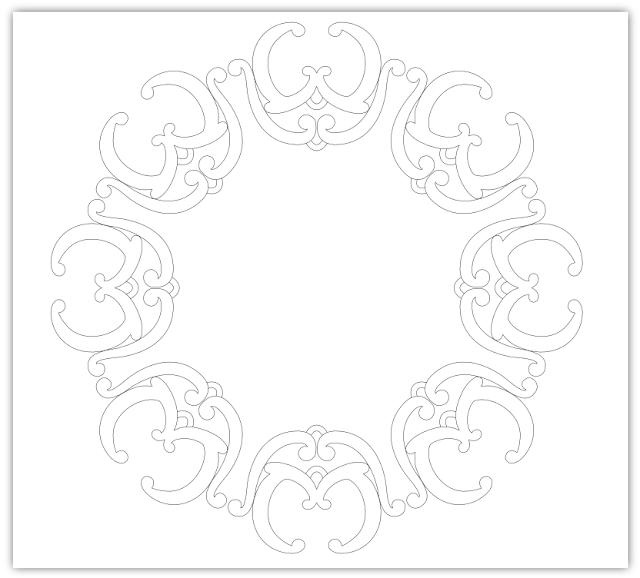 curls ornate circle free hand embroidery pattern