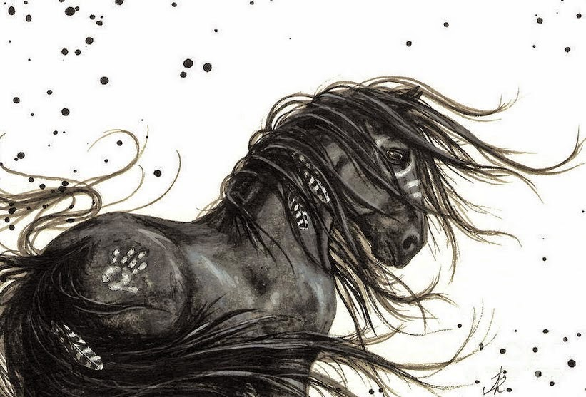 pinturas-en-acuarela-caballos-con-pelo-largo