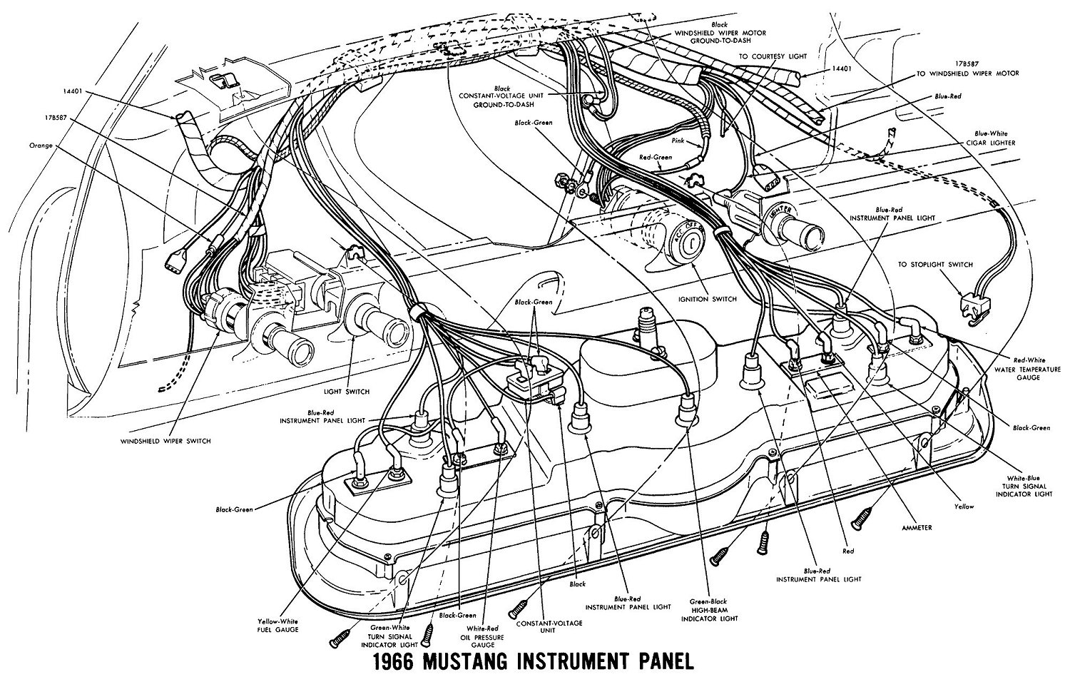 66InstrumentWiring lelu's 66 mustang 1966 mustang wiring diagrams 1966 ford mustang wiring diagram at crackthecode.co