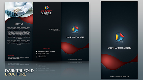 Design Dark Tri Fold Brochure Cover Photoshop Tutorial