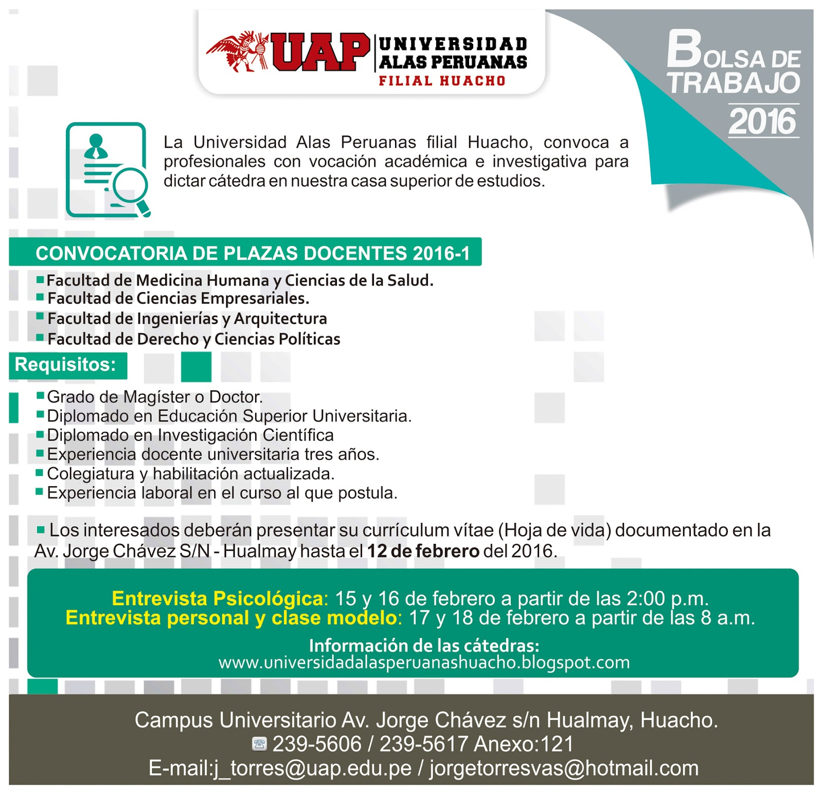 Universidad alas peruanas filial huacho convocatoria de for Convocatoria de docentes 2016