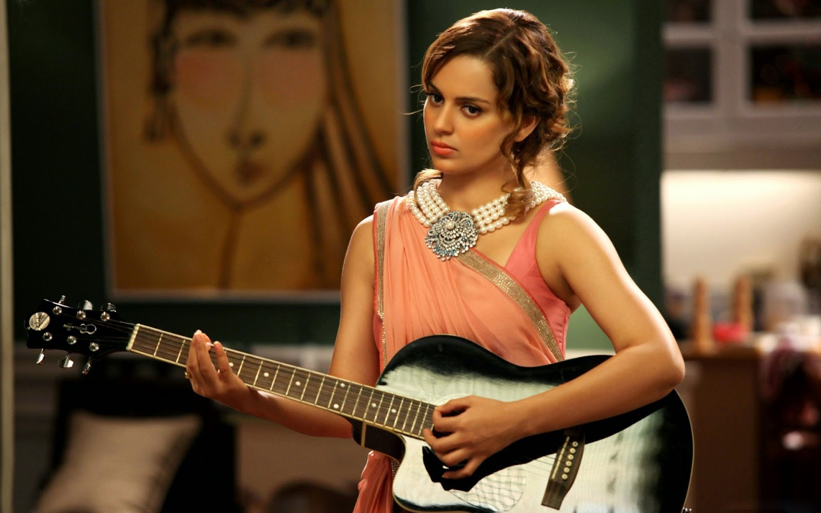 Bollywood actress Kangana ranaut with guitar hd nice best wallpaper