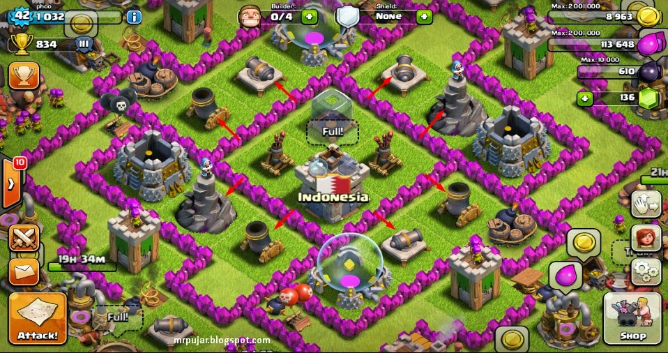 pertahanan defense base TH 7 coc