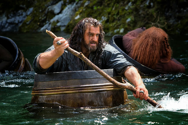 Thorin in barrel in in The Hobbit 2: The Desolation of Smaug movie still image picture photo