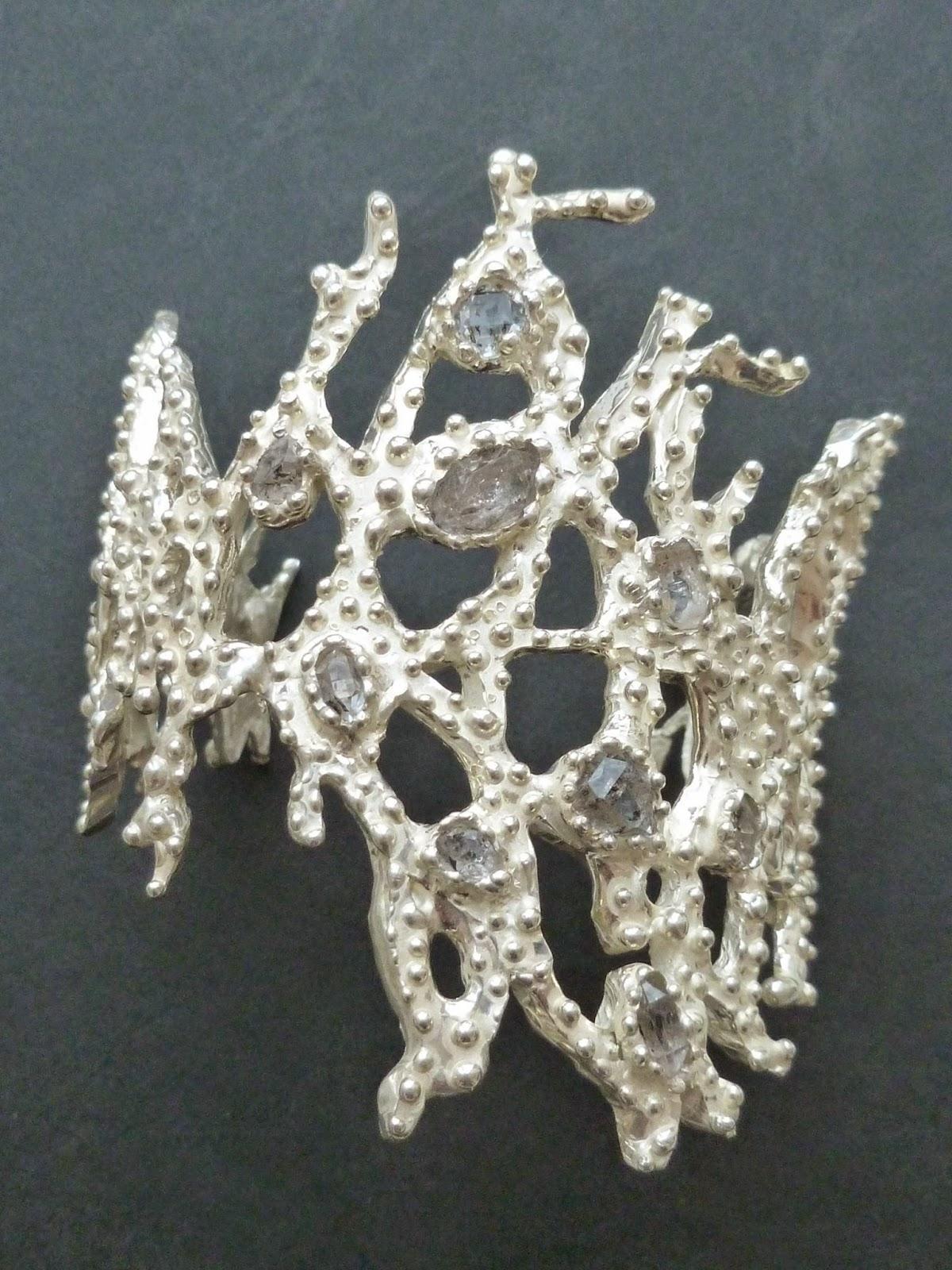 Coral bracciale in argento 925 e diamanti di Herkimer