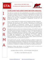 CUMPLIMOS TRES AÑOS COMO SECCIÓN SINDICAL