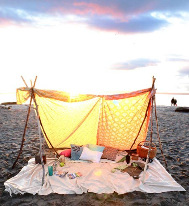 Summer coastal beach tent