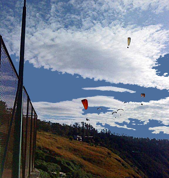 several people paragliding on sunny day