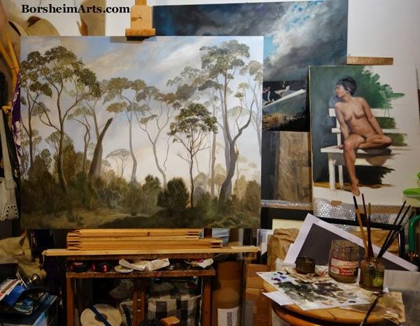 Tasmania landscape painting tree painting art studio artist's working space painter