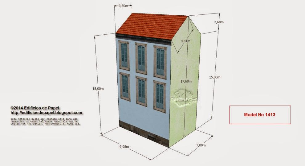 """Edificios de Papel - Modelo 1413 - Casona Urbana Gallega 1. Serie """"Ourense"""" - """"Ourense"""" series"""